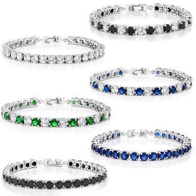 Sparkling 7 Inch Multi-Color Round Cubic Zirconia CZ Women's Tennis Bracelet (Multi Color Bracelet)