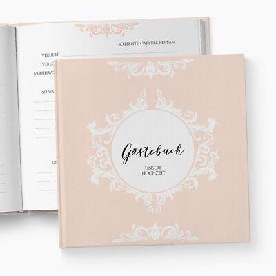 Gästebuch Hochzeit | Fragen | Prunkvoll | personalisiert | Barock Ornament lachs ()