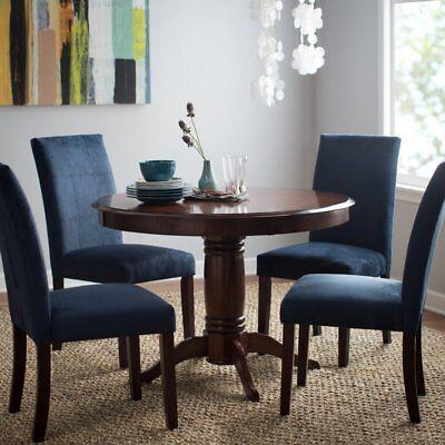 Dining Room Upholstered Pedestal - 5 Piece Blue Upholstered Seating Pedestal Brown Dining Room Table Set Home
