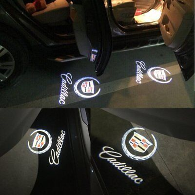 2x Ghost LED Door Step Courtesy Shadow Laser Light For CTS SRX ATS XTS Cadillac