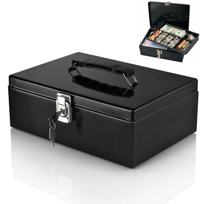 Locking Cash Box - Cash Box with Money Tray Lock & Key Steel for Cashier Drawer Money Safe Security