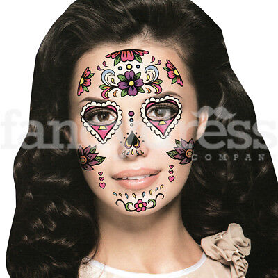 Fake Eye Face Tattoo Day of the Dead Sticker Festival Body Art Makeup Party  102 - Day Of The Dead Face Makeup