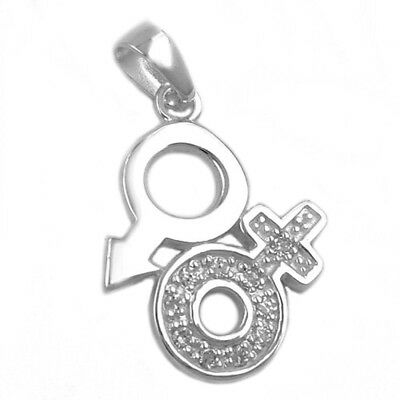 Jewelry necklace pendant Venus Mars symbol of 925 silver 23mm - Symbol Of Mars