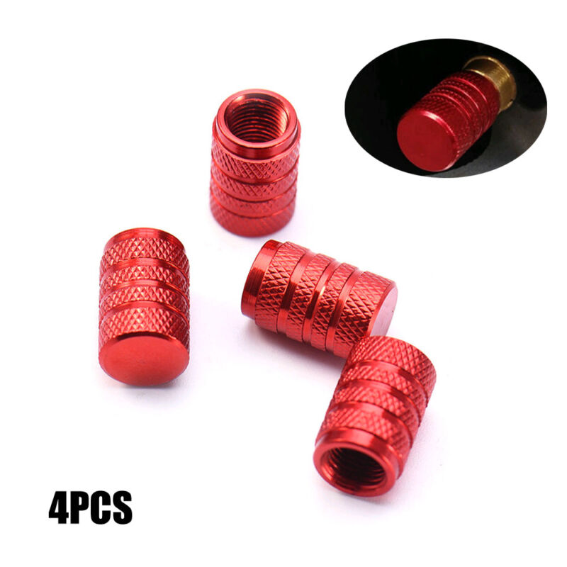 4Pcs Red Wheel Tyre Tire Valve Stems Air Dust Cover Screw Caps Car Truck Bike ve