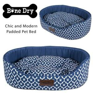 NEW DII Bone Dry Chic and Modern Padded Pet Bed, Durable Oxford Fabric, Machine Washable  Oval Lattice Navy, Large C...