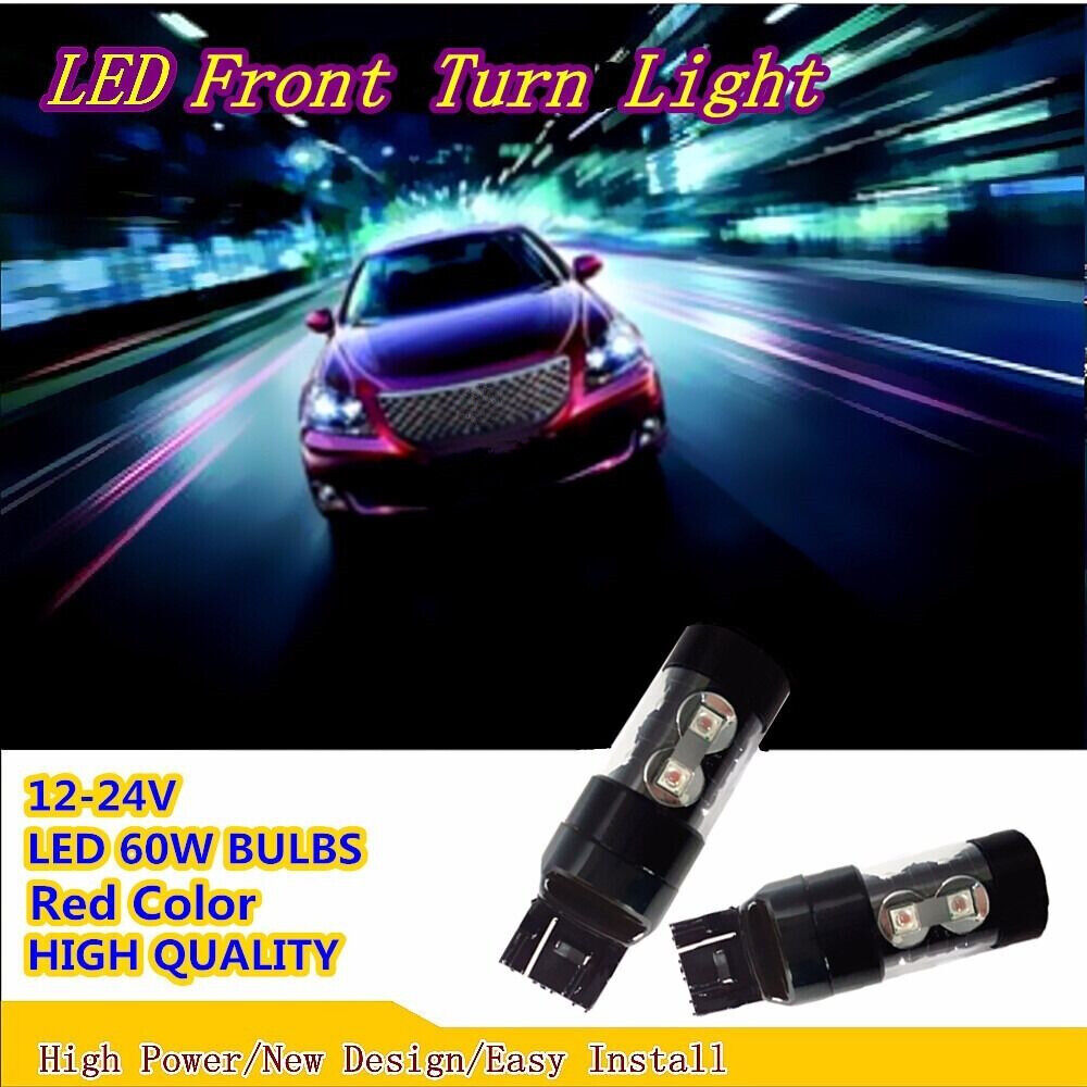 60W Red LED Front Turn Bulbs 7440 7441 Car Accessories Fit Turn Signals Light US