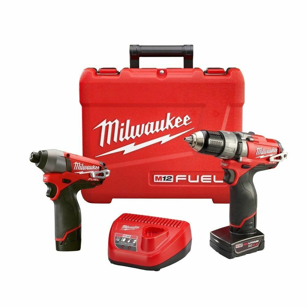 Milwaukee 2597-22 12V M12 Fuel 2 Tool Kit Hammer Drill Impact Driver w Batteries
