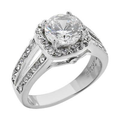 как выглядит Помолвочное кольцо с фианитом, муассанитом или искусственным камнем 2.95 Ct Halo Round Cut CZ Stainless Steel Engagement Ring Band Womens Size 5-11 фото