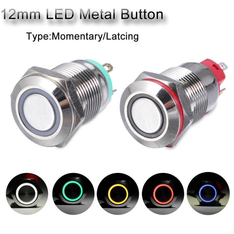 220V 16mm Schalter für Panel Momentan Latching Knopf für Metalldruck LED Licht