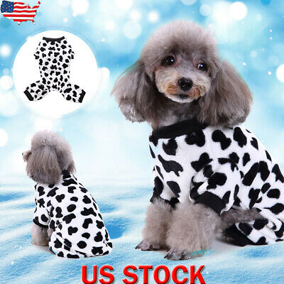 Pet Costume For Dogs (Cute Pet Dogs Winter Plush Cow Pajamas Costume Warm Funny Jumpsuit Coat)