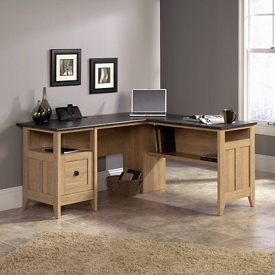 مكتب جديد Sauder August Hill L-Shaped Desk, Dover Oak Finish