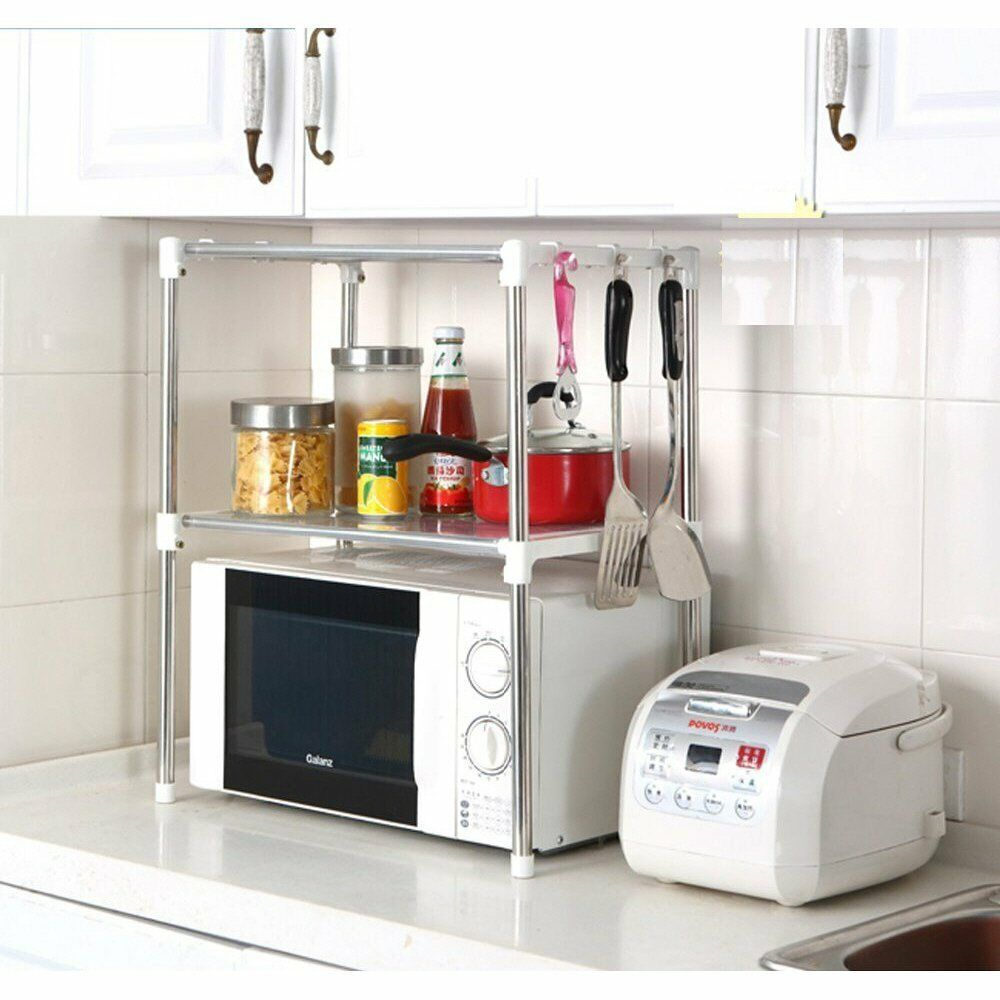 Details About Multifunction Microwave Oven Stainless Steel Shelf Kitchen  Storage Rack UK