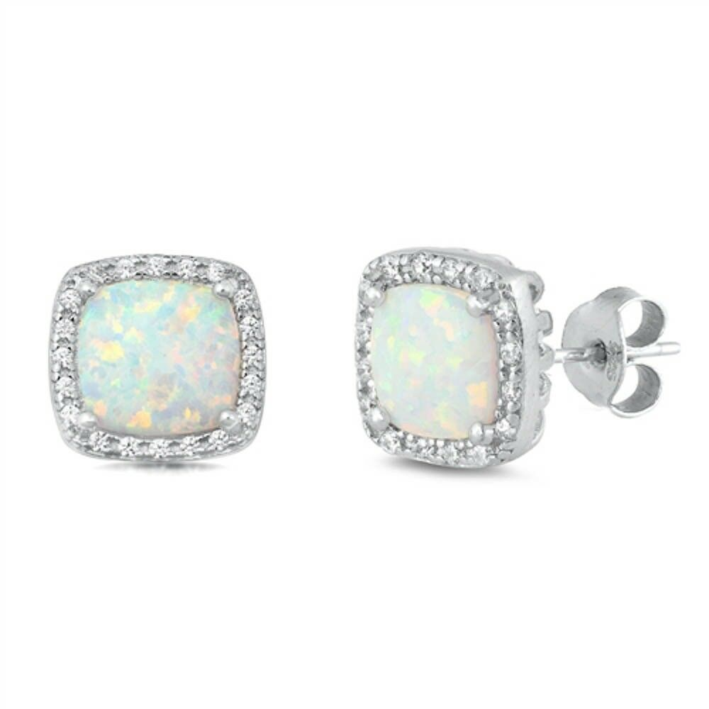 Square White Opal Cubic Zirconia Stud .925 Sterling Silver E
