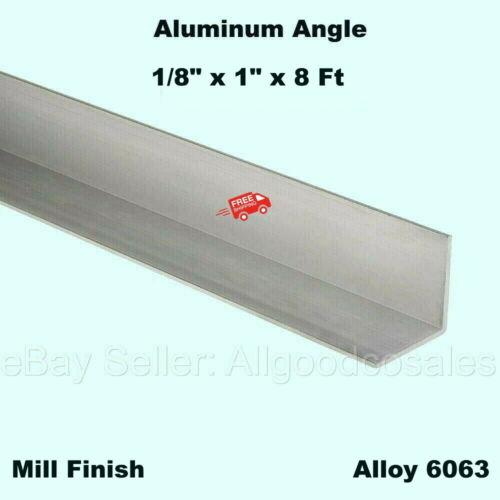 """ALUMINUM ANGLE 1/8"""" x 1"""" x 8 Ft Length Mill Finish Alloy 6063 90° Stock"""
