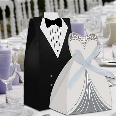 10 Bride and Groom Wedding Favour Candy Boxes Sweets Gift For Guest With Ribbon ()