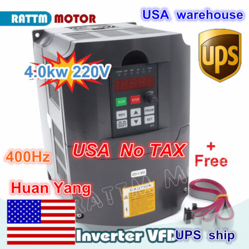 【USA】 4KW 5HP VFD Variable Frequency Inverter Drive 220V 3ph 18A For CNC Router