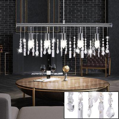 Luxus Hänge Lampe Glas Kristall Decken Lüster Wohn Zimmer Pendel Leuchte chrom (Kristall-pendelleuchte)