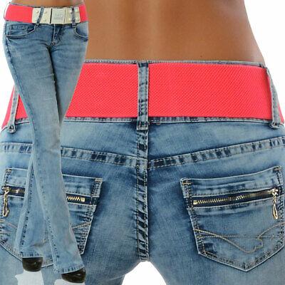 Damen Bootcut Jeans Stretch Hose Hüftjeans Hüfthose Schlaghose mit Gürtel N16001 Damen Bootcut-hose
