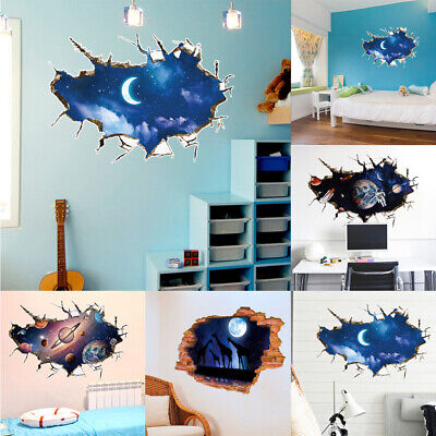 Outer Space Moon (3D Outer Space World Wall Sticker Galaxy Planet Moon Decor Art Decal Removable )