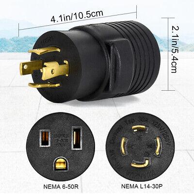 Power Plug Generator Nema L14-30p To 6-50r 30a 125v250v Rv Ev Charger Cord Plug