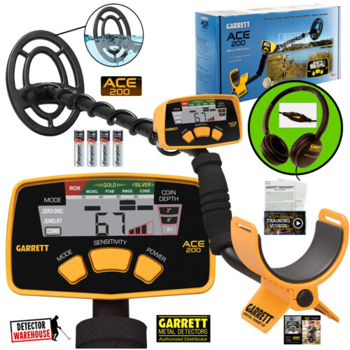 Garrett Ace 200 Metal Detector Waterproof Searchcoil & ClearSound Headphones