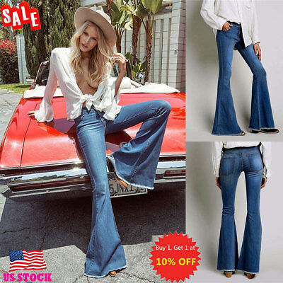 Womens Skinny Flare Denim Jeans Bell Bottom Stretch High Waist Pants Trousers US](Womens Bell Bottoms)