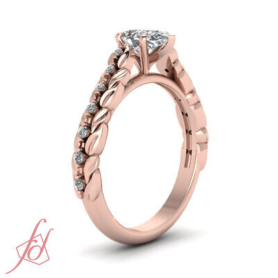 .85 Ct Pear Shaped Diamond Cathedral Style Floral Engagement Rings For Women GIA 2