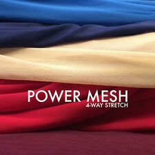 "Solid Power Mesh Fabric Nylon Spandex 60"" wide Stretch Sold BTY Many Colors"