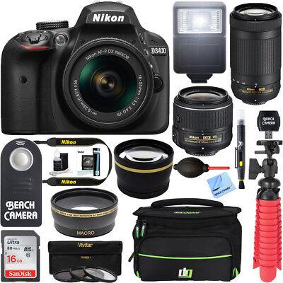 Nikon D3400 DSLR Camera + 18-55mm VR and 70-300mm Lens Bundle (Black)