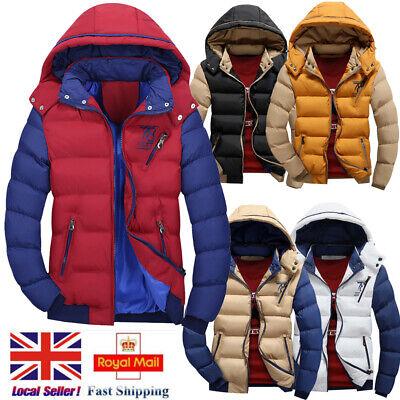 UK Mens Hooded Long Coat Winter Warm Padded Outwear Casual Fashion Parka Jacket