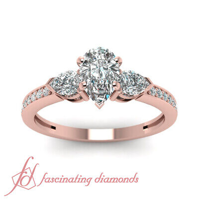 1.15 Ct Pear Diamond Pave Set Three Stone Engagement Ring With Round Accents GIA 1