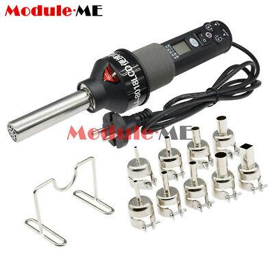 Eu Plug Lcd 450w 220v Electronic Hot Air Heat Gun Soldering Station 9nozzles New