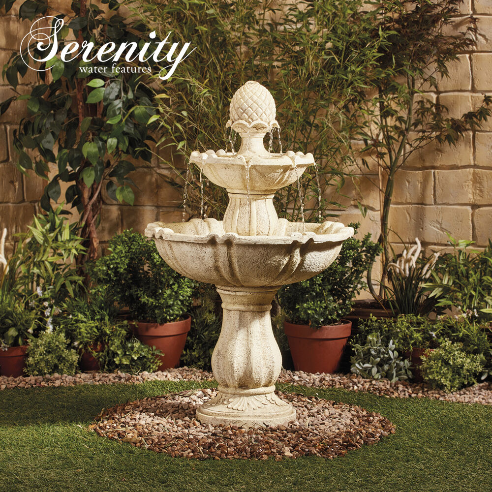 Garden Water Feature 3 Tier Fountain Cascade Bird Bath Indoor Outdoor Serenity