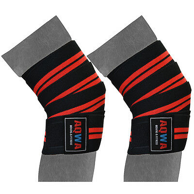 """Knee Wraps Weight Lifting Bandages Gym Straps Guard Powerlifting 78"""" Long, BR"""