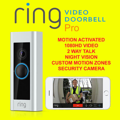 - Ring Video Doorbell Pro Ultra Slim 1080PHD Video Night Vision Camera With Chimes