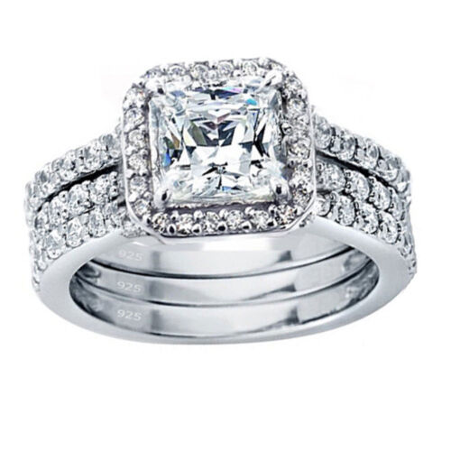 3 Pcs Women Princess Cut 925 Solid Sterling Silver Wedding Engagement Rings Set