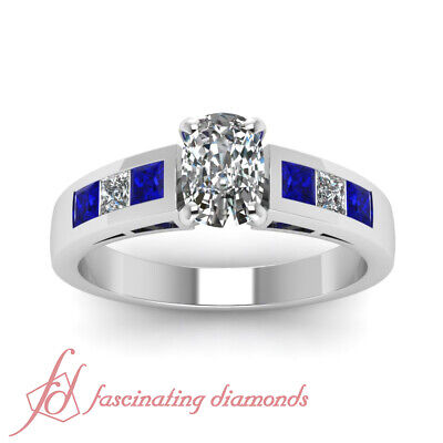 Blue Sapphire And Diamond Rings With 1.35 Ct Cushion And Princess Cut 14K GIA 1