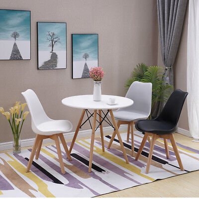 Set of Wooden Design Dining Chairs Set Retro Plastic Lounge White Black Grey