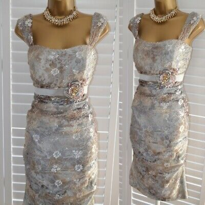 ~ JOHN CHARLES ~ Designer Lace Sparkle Dress Size 14 Suit Mother of the Bride