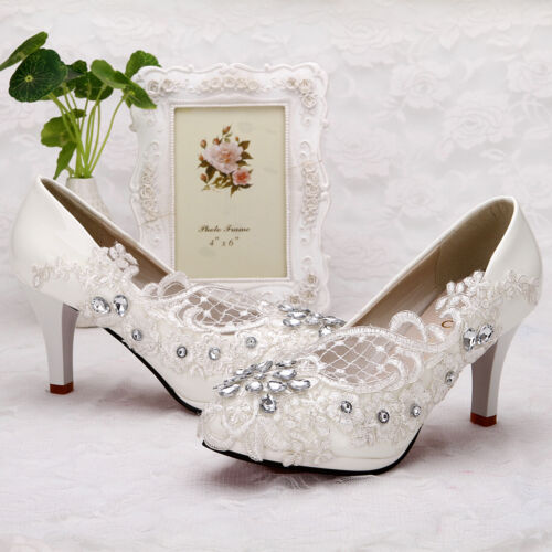 2c2c5dcfd436 Lace white ivory crystal Wedding shoes Bridal flats low high heel pump size  5-10