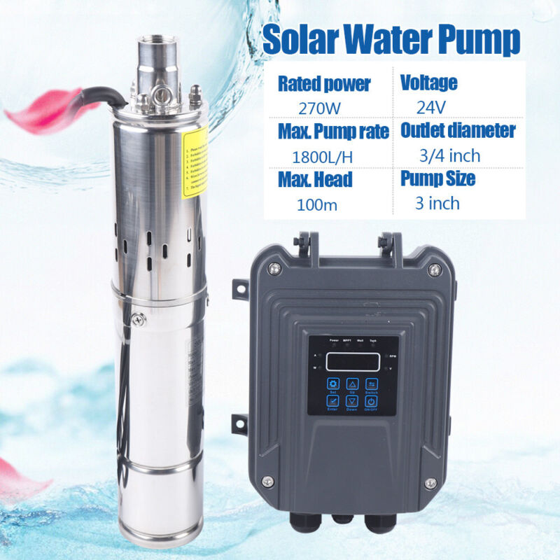 """3"""" 270W DC Deep Well Solar Water Pump Submersible Bore Hole w/ MPPT Controller"""