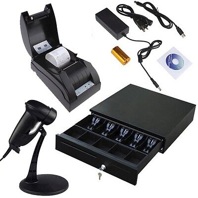 Usb Pos Thermal Receipt Printer Set Electronic Cash Drawer Barcode Scanner Stand