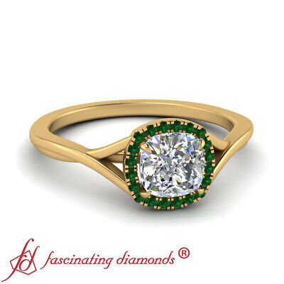 Cushion Cut Diamond & Emerald Gemstone Yellow Gold Halo Engagement Ring 1.10 Ctw 1