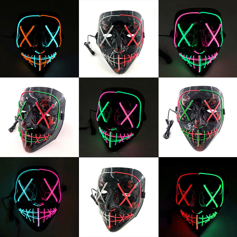 """The Purge Halloween Light Up """"Stitches"""" LED Mask Costume Rave Cosplay Party US Accessories"""