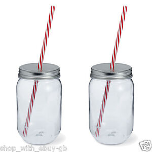 2x 600ml plastique ma on bocal straw mariage f te verre smoothie tasse ebay. Black Bedroom Furniture Sets. Home Design Ideas