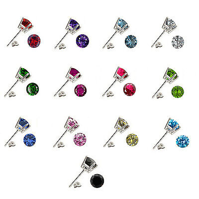 - Any Color Birthstone 925 Sterling Silver Round CZ Basket Stud Piercing Earrings