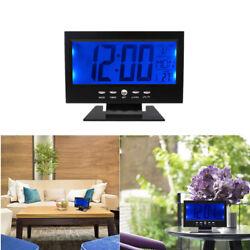 LCD Digital Table Desktop Clock Calendar Temperature Humidity Alarm Timer Snooze