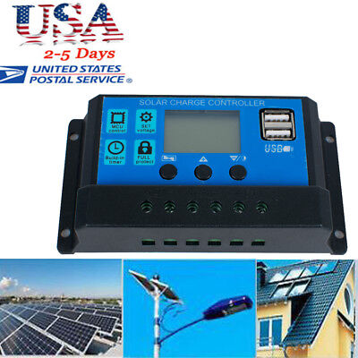 PWM 30A Solar Charge Controller 12V 24V LCD Dual USB Solar Panel Charger