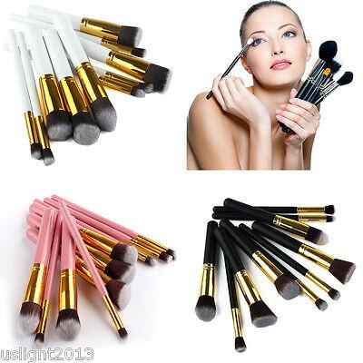10Pc Makeup Brushes Set Kit Cosmetic Tool Powder Foundation Eyeshadow Brush Kit on Rummage