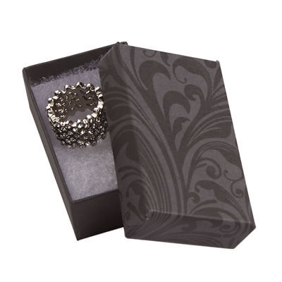 Jewelry Boxes 100 Black Gray Elegant Print Cotton Filled 2 12 X 1 12 X 78